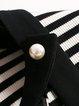 Black Two Piece Short Sleeve Lace Stripes V Neck Midi Dress