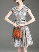 Coffee Chiffon V Neck Printed Sleeveless Midi Dress
