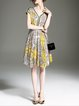 Yellow V Neck Printed Casual Chiffon Midi Dress