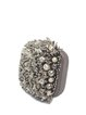 Mini Gray Evening Beaded Push Lock Clutch with Artificial Pearls