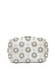 White Push Lock Satin Beaded Rhinestone Evening Clutch with Artificial Pearls
