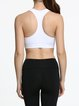 White Breathable Crew Neck Sports Bra