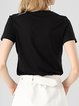 Appliqued Crew Neck Short Sleeve H-line T-Shirt