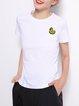 White Cotton Appliqued Simple Crew Neck T-Shirt