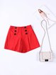Red Casual Cotton-blend Buttoned Shorts