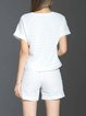 White Two Piece Cotton-blend Casual Pierced Romper with Belt