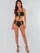 Black Lace-up Cross Straped Bikini
