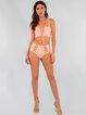 Salmon Lace-up Straped Cross Bikini