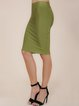 light Olive Green Sexy Solid Midi Skirt