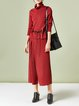 Red Cowl Neck Long Sleeve Two Piece Jumpsuit with Belt