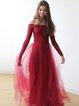 Burgundy Long Sleeve Off Shoulder Elegant Floral Evening Dress