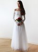Ivory Floral Off Shoulder Elegant Lace Tulle Evening Dress