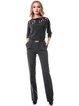 Black Pockets Slash Neck Elegant 3/4 Sleeve Jumpsuit with Belt