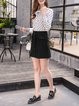 Buttoned A-line Casual Solid Mini Skirt