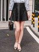 Black Casual Zipper A-line PU Mini Skirt
