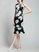 Black Flounce Girly Floral-print Midi Dress