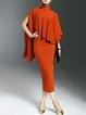 Orange Elegant Turtleneck Cotton-blend Two Piece Work Dress