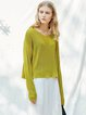 Knitted Casual Long Sleeve Crew Neck Solid Top
