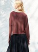 Plus Size H-line Casual Crew Neck Knitted Long Sleeved Top