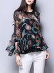 Multicolor Two Piece Printed Casual Crew Neck Blouse