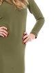 Olive Green Crew Neck Elegant Cotton-blend Solid Work Dress