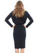 Black Elegant Long Sleeve Solid Cotton-blend Work Dress