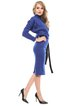 Blue Cotton-blend Slit Sheath Elegant Work Dress
