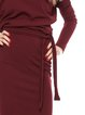 Marsala Long Sleeve Elegant Sheath Cotton-blend Solid Work Dress