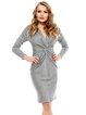 Gray Sheath Elegant Gathered Solid Midi Dress