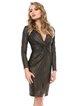 Gold black Elegant V Neck Long Sleeve Sheath Solid Party Dress
