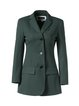 Buttoned Solid Long Sleeve Lapel Polyester Blazer