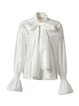 White Long Sleeve Silk-blend Solid Bow Blouse
