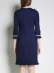 Dark Blue Geometric Frill Sleeve Fringed Sheath Casual Midi Dress