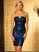 Blue Metallic Beaded Strapless Elegant Bodycon Midi Dress