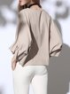 V Neck Folds Batwing Ruffled Blouse