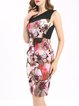 Pink Floral-print Sleeveless V Neck Vintage Midi Dress