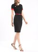 Black Vintage Short Sleeve Color-block Midi Dress with Belt