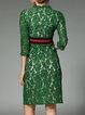 Lace Elegant Floral 3/4 Sleeve Guipure Lace Midi Dress