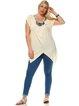 Beige Embellished Rayon Short Sleeve Plus Size Tunic