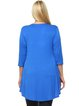 Royal Blue V Neck Embellished Rayon Plus Size Tunic