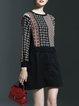 Brown Buttoned Long Sleeve Geometric Casual Printed Mini Dress