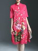 Floral-embroidered Short Sleeve Keyhole Cutout Midi Dress