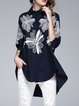 3/4 Sleeve Shirt Collar Casual Floral-embroidered Cotton Tunic