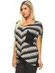 Black Shift Stripes Diagonal Pocket Short Sleeve Tunic