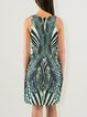 Tiger Print Sleeveless Elegant Sheath Crew Neck Midi Dress