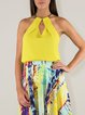 Yellow Solid Casual Cutout Chain Halter Tank And Cami