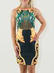 Black Vintage Printed Crew Neck Mini Dress