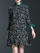 Ruffled Floral Print Flounce Frill Sleeve Casual Mini Dress