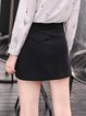 Black A-line Letter Cute Embroidered Mini Skirt