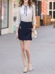 Dark Blue A-line Floral Letter Embroidered Mini Skirt